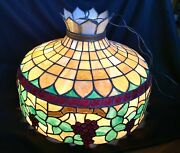 Large Antique Victorian Style Stained Leaded Glass Hanging Lamp
