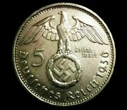 Rare Wwii German 5 Reichsmark Silver Coin With Eagle - Historical Artifact