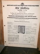 Rca Victor Model V-175 Receiver And Phonograph Service Data Manual.