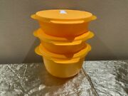 New Tupperware Set Of 3 Microwave Reheatable Bowls 4-4-8 Cups In Mango Color