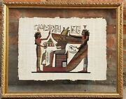 Vintage Adel Ghabour Egyptian Fine Art Papyrus Print Isis Signed 23wx18 1/2h
