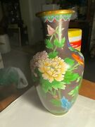 Jingfa Signed Cloisonne 10 1/2 Floral And Bird Vase Cherry Blossoms Chrysanthemum