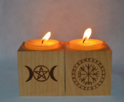 Wooden Pentacle Runes Candle Holder Wiccan Witchcraft Altar Ritual Light Holders