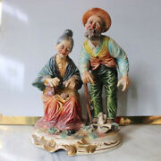 Authentic Capodimonte Porcelain Figure Couple Made In Italy Rare Large Signed