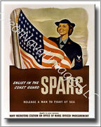 Enlist In The Spars Coast Guard Recruiting Poster On Canvas 2d Effect
