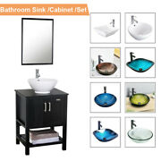 24and039and039 Bathroom Vanity Mirror Cabinet Set Vessel Glass Ceramic Sink Faucet Black