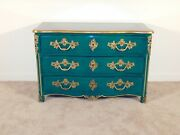 Antique French Louis Xv Green Lacquer Gilt Accents Chest W Ormolu Mounts
