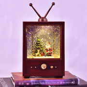 Old Tv Night Light Santa Claus Led Music Box Party Home Decor Christmas Gift
