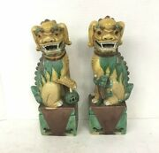 Pair Antique Chinese Porcelain Foo Dogs