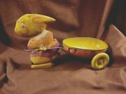 Easter Bunny Pulling Cart, Vintage Lithographed Tin Toy, C'20's