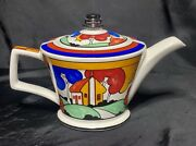 Sadler England Teapot With House Trees Red Blue Green Yellow Mid Century Modern