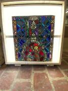 Antique German Stained Glass Church Window From A Closed Church N13
