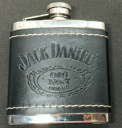2009 Jack Daniels Old No 7 Brand Stainless Steel Leather Wrapped 5 Oz Flask