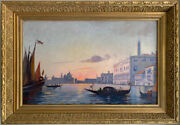 Late 19th Century Oil Painting - Sunset Over Grand Canal Venice Gondoliers