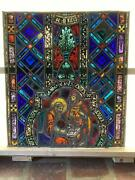 Antique German Stained Glass Church Window From A Closed Church - V13