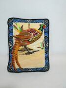 Vintage Crewel Embroidery Pheasant Pillow