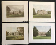 Antique Architecture Country Houses Color Wood Engravings Lot Of 160 From 1880