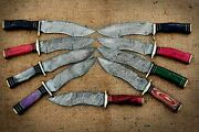 Set/lot Of 9 Damascus Steel Hunting Knife Colored Wood Handle
