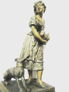 Metal Sculpture With Golden Patina Woman With Her Greyhound Holding A Hen
