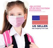 50/100 Pcs Kids Unisex Pink Face Mask Mouth And Nose Protector Respirator Masks
