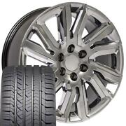 Oew 22x9 Wheels And Tires Fit Chevy Gm High Country Hyper Black W/ Chrome Gy Tire