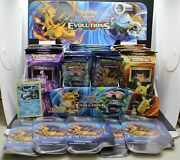 Pokemon Evolutions Launch Display With 72 Boosters , 8 Theme Decks, Promo, And Box