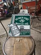 Quaker State Motor Oil Sign Gas Automobile Drive Dealer Vehicle Battery
