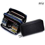 Unisex Multi Card Double Zipper Woven Long Wallets Large Capacity Rfid Clutches