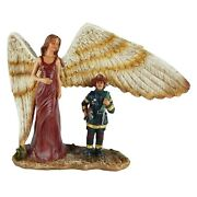 Fireman Winged Guardian Angel Statue Firefighter Religious Decor Hand Painted