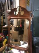 """Vintage C1930 Chippendale Style Mahogany Mirror Eagle Finial 43/26"""" Glass 27/19"""""""
