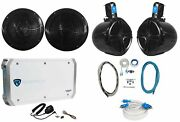 2 Rockville Rmc80b 8 Marine Boat Speakers+2 8 Wakeboards+4-ch Amp+wire Kit