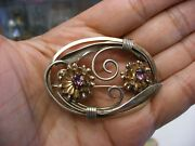Vintage Louis Stern Marked L.s. Co.1-20 12k G.f. On 800 Silver Floral Pin 1069