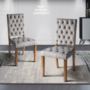 New Upholstered Dining Living Room Chairs Set Of 2 With Wood Legs Padded Vintage