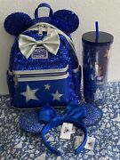 Disney Parks Wishes Come True Blue Backpack Loungefly Ears Starbucks Disneyland