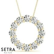 Certified 5.00 Carat Circle Of Life Lab Diamonds Necklaces 14kt Gold