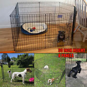Playpen Kennel 30 Inch Tall Puppy Pen Dog 8 Panel Folding Fence Indoor Outdoor