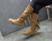 Womens Hidden Heels Plus Size Fringed Boots Comfort Pull On Mid Calf Boots