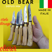 Couteau Pliant Made In Italie Old Bear Manche Olivier Virole Laiton Chasse