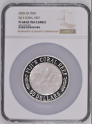 2005 S50 Fiji 5oz Silver Mother Of Pearl Coral Reef Ngc Pf68uc Mintage 500 Only