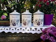 Very Rare 3 Lovely Antique Enameled French Canisters Japy Purple Roses 1940s