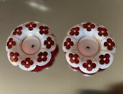 """2 Antq French Bohemian Moser Glass 3-3/8"""" Bobeches Candelabra Chandelier Parts"""