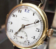 Solid 18k Gold Antique 1922 Mappin And Webb Campaign Rare Trench Style Watch Works