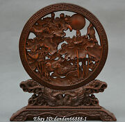 China Box-wood Hand Carved Hollow Out Lotus Mandarin Duck Statue Folding Screen