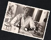 Vintage Antique Photograph Man Sitting At Table With Liquor Bottles