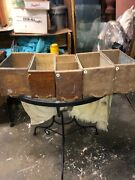 """5 C1900 Salvaged Heller Furnishings Cabinet Draw Oak Front 12/5/6"""" Galvanized"""