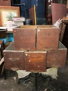 """5 C1900 Salvaged Heller Furnishings Cabinet Draw Oak Front 12/7.5/8"""" Galvanized"""