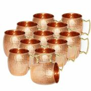12 Hammered Copper Moscow Mule Mugs Handmade 100 Pure Copper Brass Handle Cup