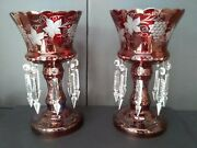 Antique Bohemian Cut Cranberry And Clear Mantel 12 1/2 Tall X 7 Wide Hurricanes