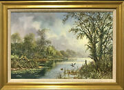 Don Vaughan - Large Original Oil Tranquil River Landscale Reed Cutting And Ducks