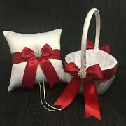Red Bow Bow With Crystal Andbull Ring Bearer Pillow And/or Flower Girl Basket